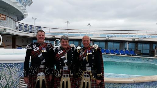 Davy Brown, Davy Elder and Kenny McBride aboard Caribbean Princess
