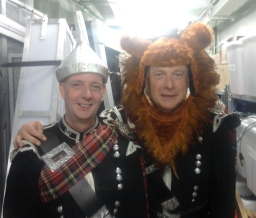 Kenny the Lion and Dougie the tin man on board cruise ship dressing room.